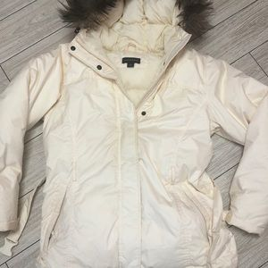 Land's End down jacket with fur hoodie S (6-8)